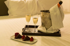 Honeymoon concept. Hotel room shot - Honeymoon concept Royalty Free Stock Photo