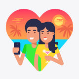 Honeymoon. The concept of traveling couple spending their honeymoon on a tropical island and making selfie behind the sea sunset for sharing pictures with vector illustration