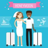 Honeymoon concept. Wedding couple. Honeymoon travel concept. Wedding couple travel abroad with suitcase. Vector illustration in flat style Royalty Free Stock Images