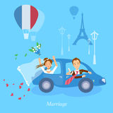 Honeymoon couple bride and groom journey in Paris. Vector illustration vector illustration