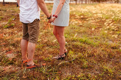 Honeymoon couple hands back view Royalty Free Stock Images