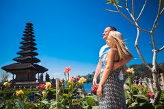 Honeymoon couple near the Balinese temple Stock Photo