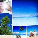 Honeymoon Couple Romantic Summer Beach Concept.  Royalty Free Stock Photography
