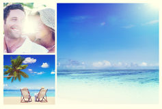 Honeymoon Couple Romantic Summer Beach Concept.  Royalty Free Stock Photos