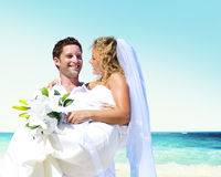 Honeymoon Couple Romantic Summer Beach Concept Stock Photography