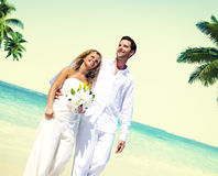Honeymoon Couple Romantic Walking Summer Beach Concept Stock Image
