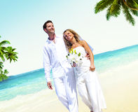 Honeymoon Couple Romantic Walking Summer Beach Concept.  Stock Images