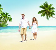 Honeymoon Couple Summer Beach Dating Concept Stock Image
