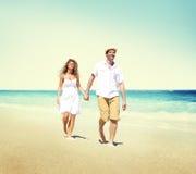 Honeymoon Couple Summer Beach Dating Concept Stock Photos