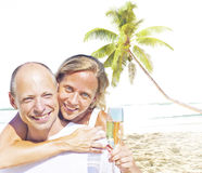 Honeymoon Couple Summer Beach Dating Concept Stock Photos