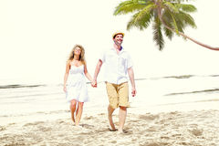 Honeymoon Couple Summer Beach Dating Concept Stock Photo