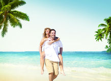 Honeymoon Couple Summer Beach Dating Concept.  Royalty Free Stock Photos
