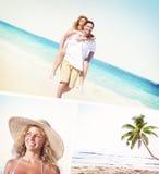 Honeymoon Couple Summer Beach Dating Concept Stock Image