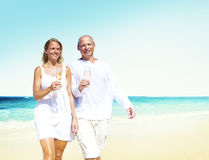 Honeymoon Couple Summer Beach Dating Concept.  Royalty Free Stock Images