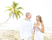 Honeymoon Couple Summer Beach Dating Concept Stock Images