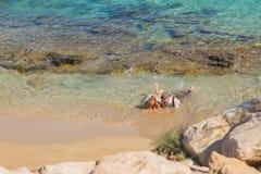 Honeymoon couple travel sea and beach resort in Europe. Bride and groom Stock Photography