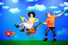 Honeymoon. Couple of young people in love running with flowers royalty free illustration