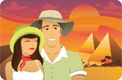 Honeymoon in Egypt. Honeymoon couple in front of the Egypt pyramids royalty free illustration