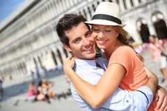 Honeymoon in Europe. Romantic couple on Piazza San Marco in Venice stock image