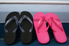 Honeymoon Flip Flops. Just Married Flip Flops Royalty Free Stock Images