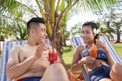 Honeymoon. Happy young Vietnamese couple spending honeymoon at spa resort Royalty Free Stock Photos