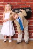 Honeymoon. Humor wedding background. Travel series Royalty Free Stock Photography