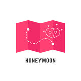 Honeymoon icon with pink map pin Royalty Free Stock Image