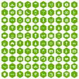 100 honeymoon icons hexagon green. 100 honeymoon icons set in green hexagon isolated vector illustration Royalty Free Stock Photo