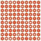 100 honeymoon icons hexagon orange Stock Photography