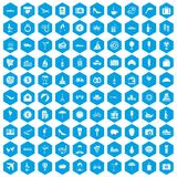 100 honeymoon icons set blue. 100 honeymoon icons set in blue hexagon isolated vector illustration Royalty Free Illustration