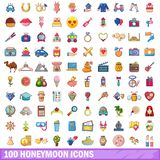 100 honeymoon icons set, cartoon style. 100 honeymoon icons set. Cartoon illustration of 100 honeymoon vector icons isolated on white background Royalty Free Stock Photos