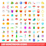 100 honeymoon icons set, cartoon style. 100 honeymoon icons set in cartoon style for any design vector illustration Stock Images