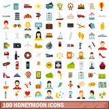 100 honeymoon icons set, flat style Royalty Free Stock Photo