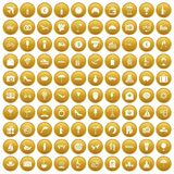 100 honeymoon icons set gold. 100 honeymoon icons set in gold circle isolated on white vectr illustration royalty free illustration