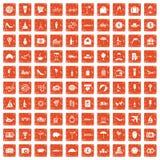 100 honeymoon icons set grunge orange. 100 honeymoon icons set in grunge style orange color isolated on white background vector illustration royalty free illustration