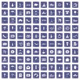 100 honeymoon icons set grunge sapphire. 100 honeymoon icons set in grunge style sapphire color isolated on white background vector illustration Royalty Free Stock Photo