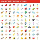 100 honeymoon icons set, isometric 3d style. 100 honeymoon icons set in isometric 3d style for any design illustration vector illustration