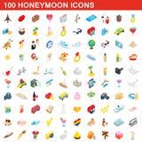 100 honeymoon icons set, isometric 3d style. 100 honeymoon icons set in isometric 3d style for any design illustration vector illustration