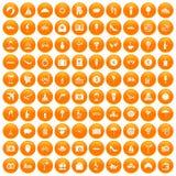 100 honeymoon icons set orange. 100 honeymoon icons set in orange circle isolated vector illustration Royalty Free Stock Photo