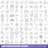 100 honeymoon icons set, outline style. 100 honeymoon icons set in outline style for any design vector illustration Stock Image