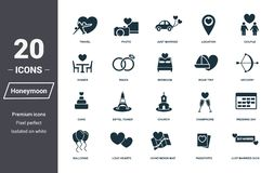 Honeymoon icons set. Premium quality symbol collection. Honeymoon icon set simple elements. Ready to use in web design, apps, soft. Ware, print stock illustration