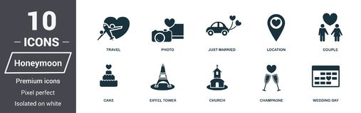 Honeymoon icons set. Premium quality symbol collection. Honeymoon icon set simple elements. Ready to use in web design, apps, soft. Ware, print vector illustration