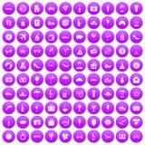 100 honeymoon icons set purple. 100 honeymoon icons set in purple circle isolated vector illustration Royalty Free Stock Photography