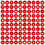 100 honeymoon icons set red. 100 honeymoon icons set in red circle isolated on white vectr illustration Stock Images