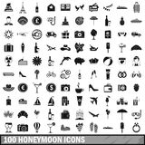 100 honeymoon icons set, simple style. 100 honeymoon icons set in simple style for any design vector illustration Royalty Free Stock Photo