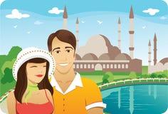 Honeymoon in Istanbul. Honeymoon couple in front of istanbul sultan ahmet mosque stock illustration