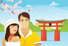 Honeymoon in Japan. Honeymoon couple in front of tori in Japan Stock Images