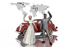 Honeymoon, just married. Newly weds getting ready to leave on their honeymoon, a world trip. A 1930 sedan will bring them to the airport.  3D illustration Royalty Free Stock Photography