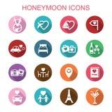 Honeymoon long shadow icons. Flat vector symbols vector illustration