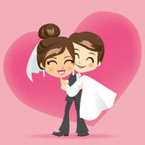 Honeymoon Love. Groom carrying bride holding her in his arms after wedding on honeymoon vector illustration